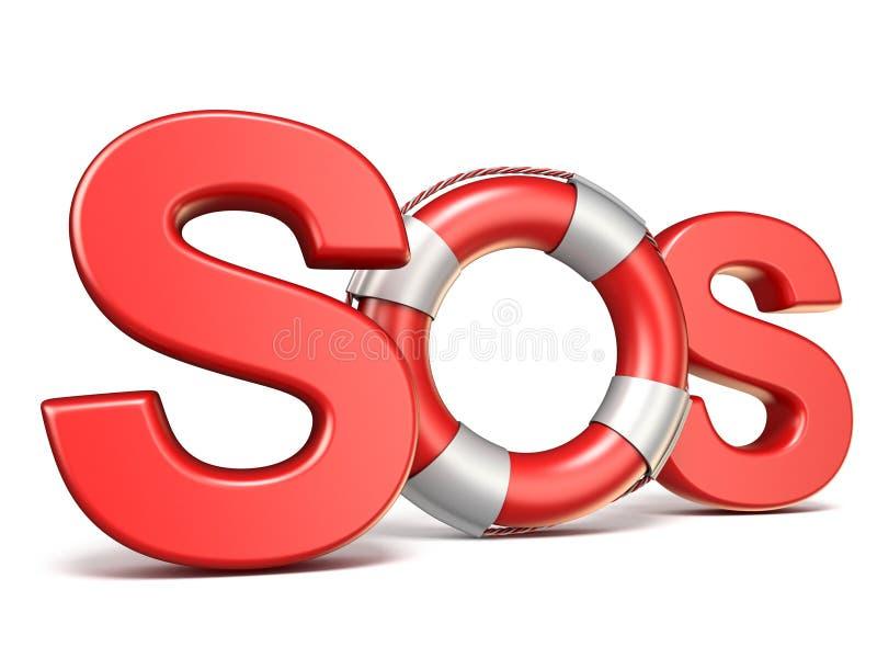 Signe de SOS avec la bouée de sauvetage 3D illustration stock
