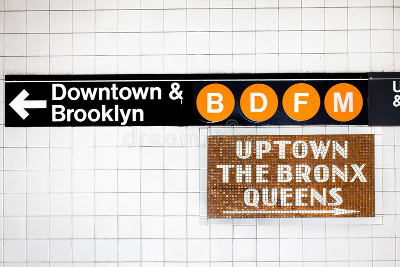 Signe de souterrain de NYC images libres de droits
