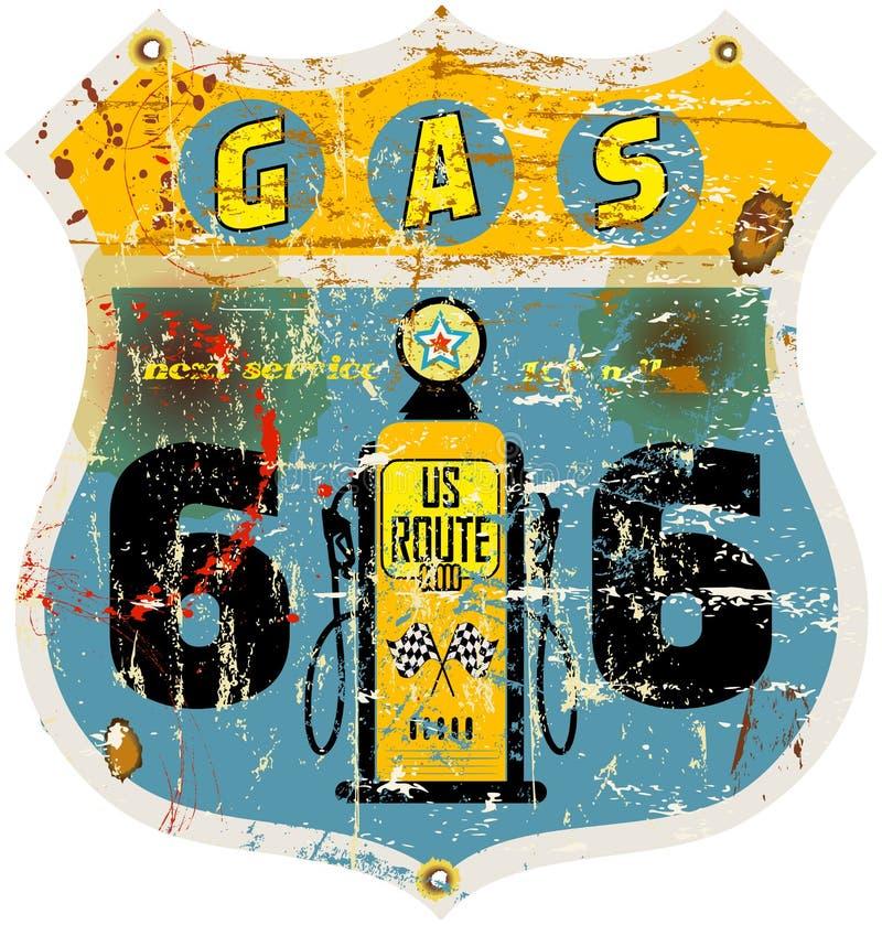 signe de station service de l'itinéraire 66 illustration de vecteur