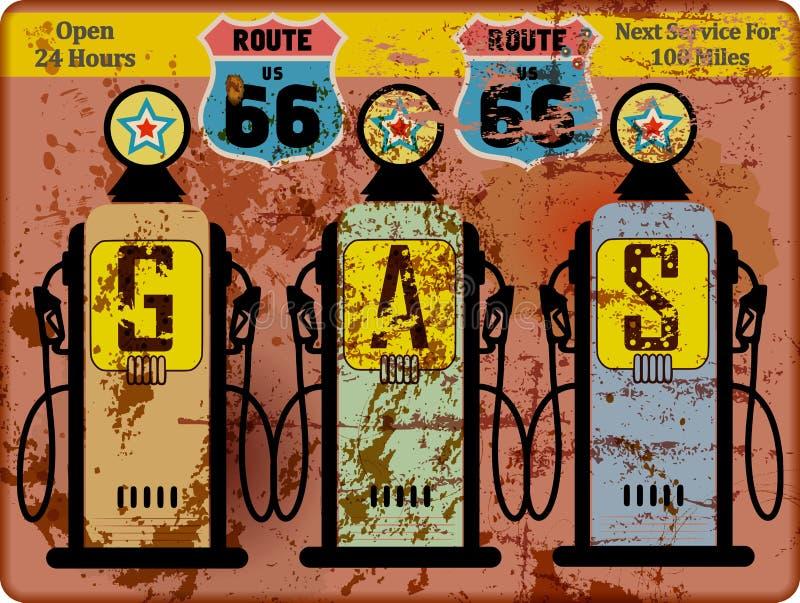 Signe de station service de l'itinéraire 66 de vintage illustration libre de droits