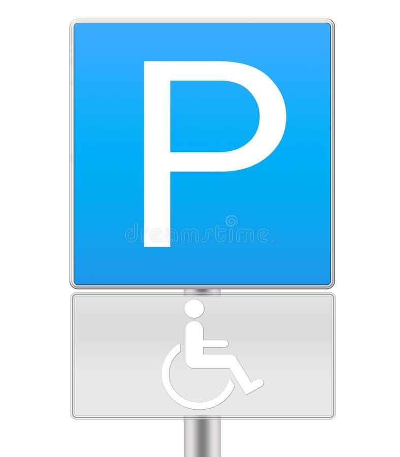 Signe de stationnement handicapé photo stock