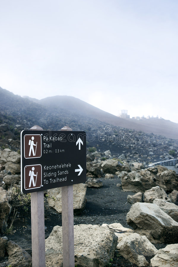 Signe de stationnement national de Haleakala image stock