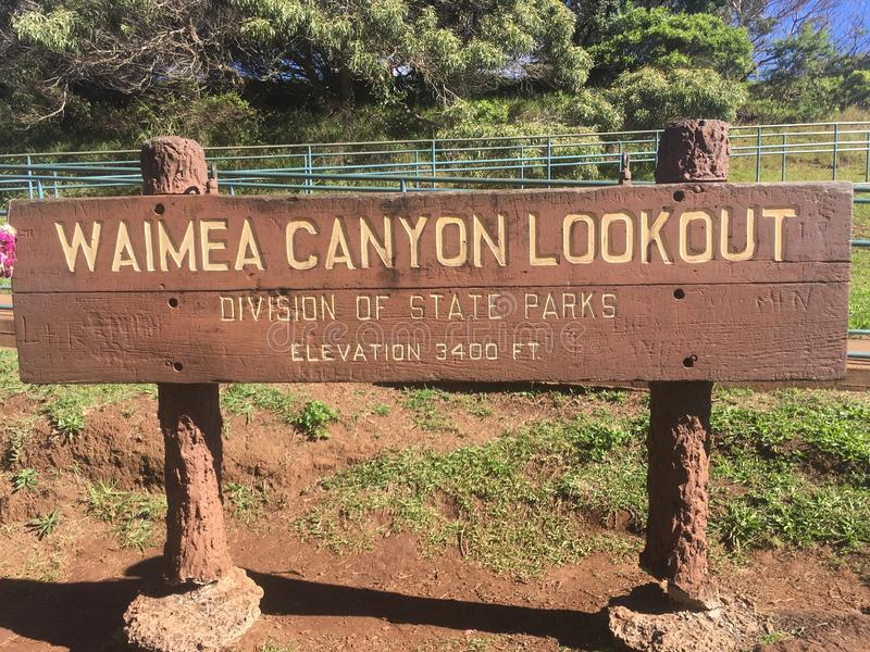 Signe de surveillance de parc de canyon de Waimea photographie stock