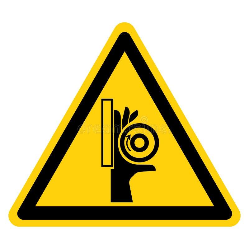 Signe de symbole de point d'invariance de rouleau d'?crasement de main, illustration de vecteur, isolat sur le label blanc de fon illustration stock