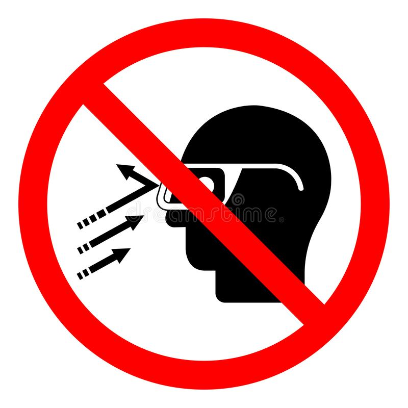 Signe de symbole de verres de sûreté d'usage de débris de vol de risque de blessure, illustration de vecteur, isolat sur le label illustration de vecteur