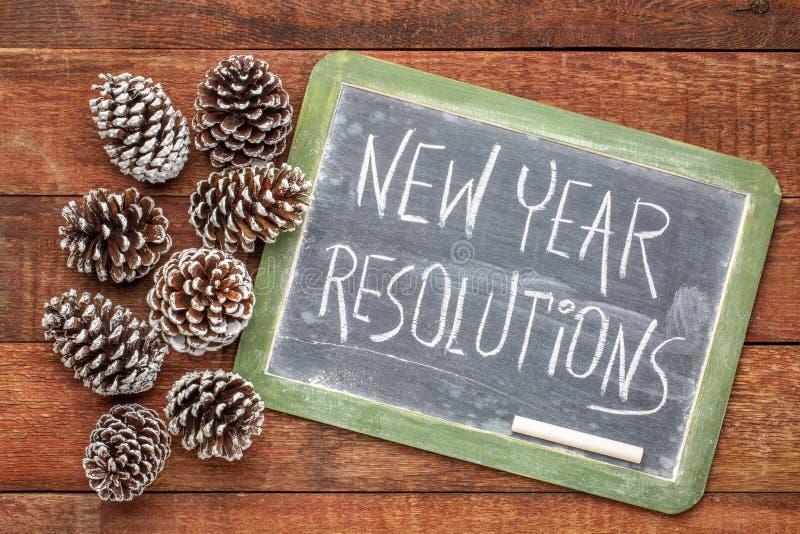 Signe de tableau noir de résolutions de nouvelle année image stock