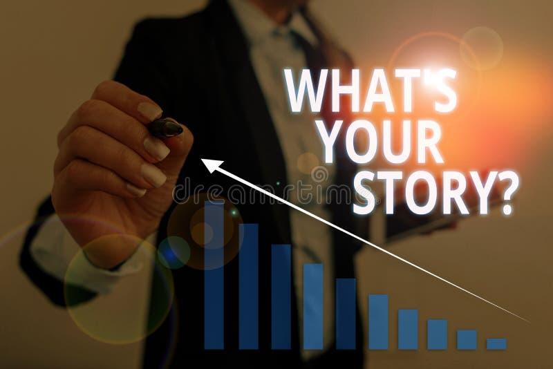 Signe de texte montrant la question 'What S Is Your Story' Analyseur de photos conceptuelles pour demander des démonstrations sur images libres de droits