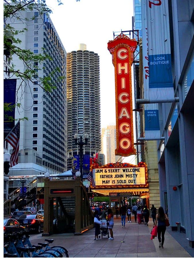 Signe de théâtre de Chicago photographie stock