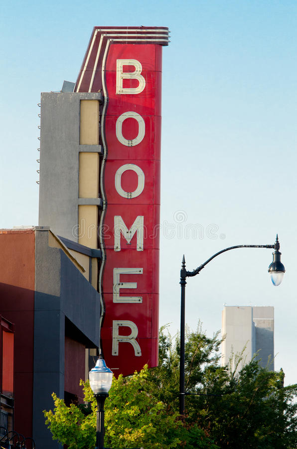 Signe de théâtre de boomer, Normand, l'Oklahoma photo libre de droits