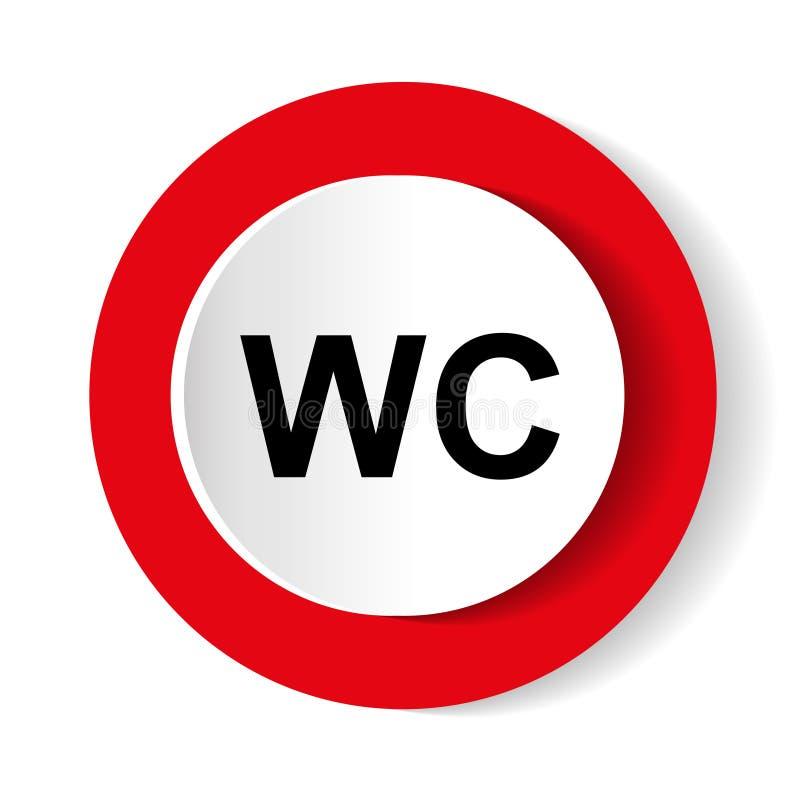 Signe de toilette de carte de travail de toilettes Icône ronde de rouge de vecteur illustration stock