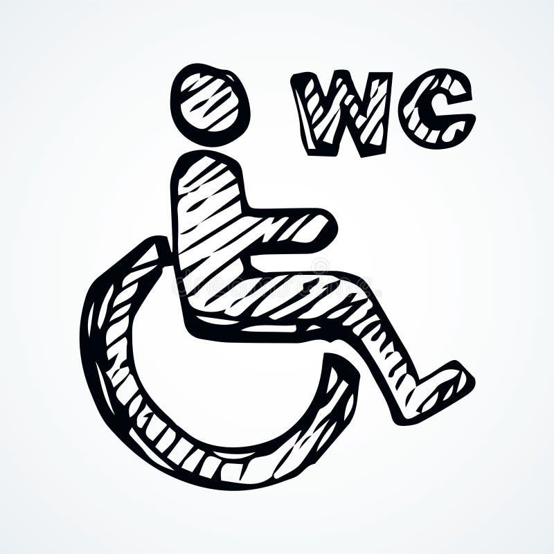 Signe de toilette pour les handicapés Retrait de vecteur illustration libre de droits
