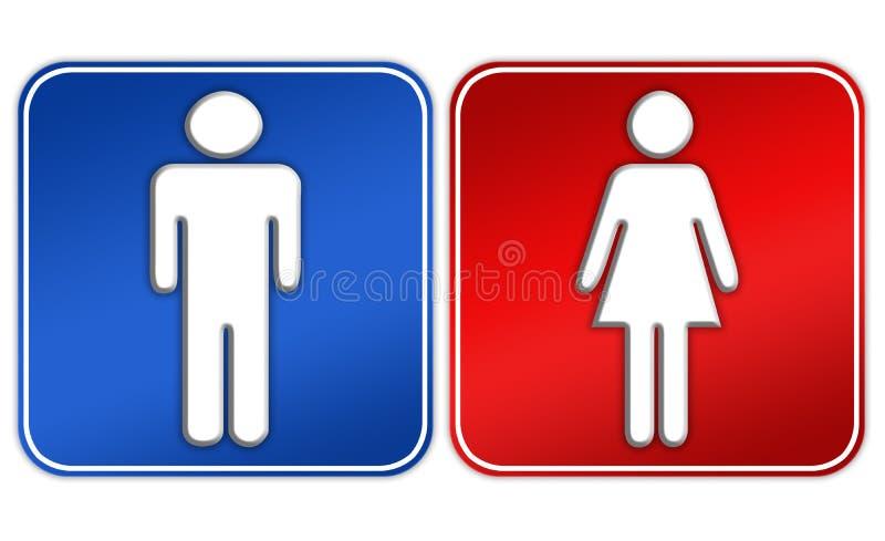Signe de toilettes de femme d'homme illustration stock