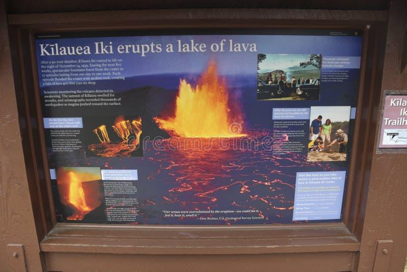 Signe de touristes de cratère de Kilauea Iki, grande île, Hawaï photos stock