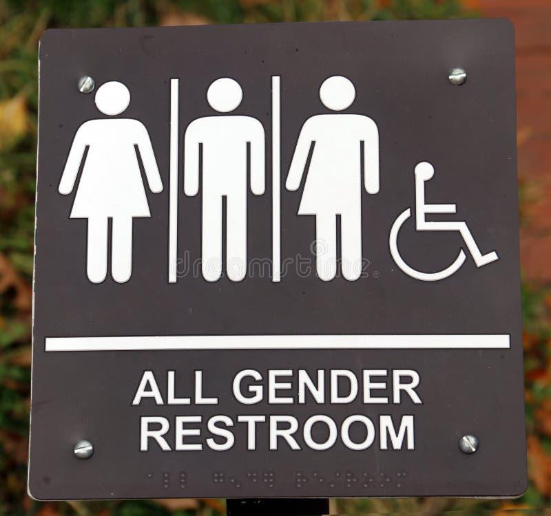 Signe de toutes les toilettes de sexe photo stock