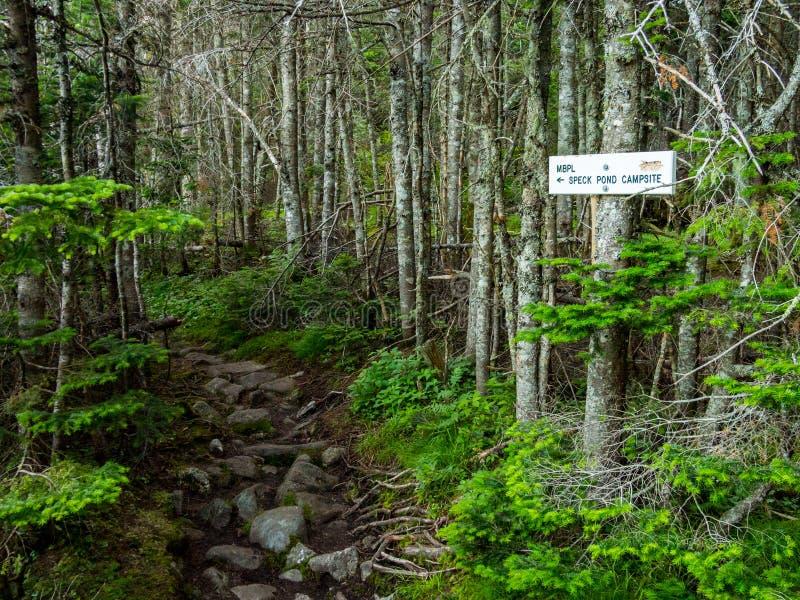 Signe de traînée, traînée de Mahoosuc, traînée appalachienne en bois foncés photographie stock libre de droits