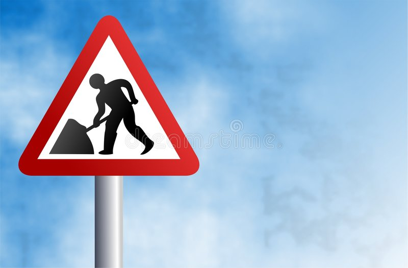 Signe de travaux de route illustration stock