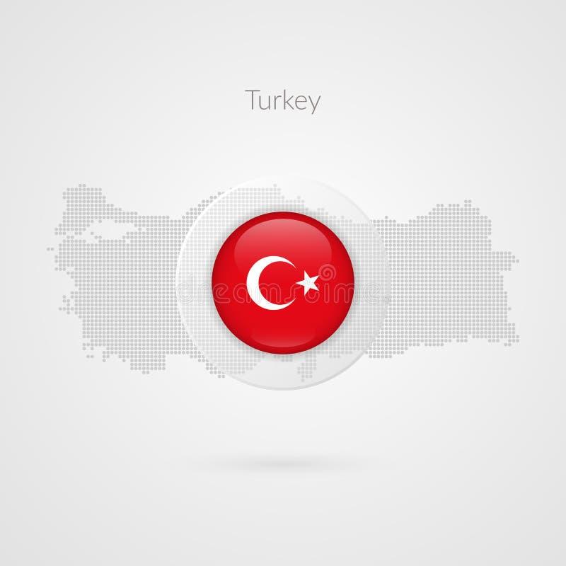 Signe de vecteur de découpe pointillé par carte de la Turquie Symbole turc de cercle de drapeau Icône pour le voyage, affaires, m illustration stock