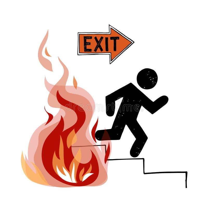 Signe de vecteur d'évacuation du feu image stock