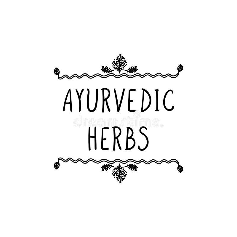 Signe de vecteur : Herbes d'Ayurvedic, dessin linéaire noir d'isolement de griffonnage illustration stock