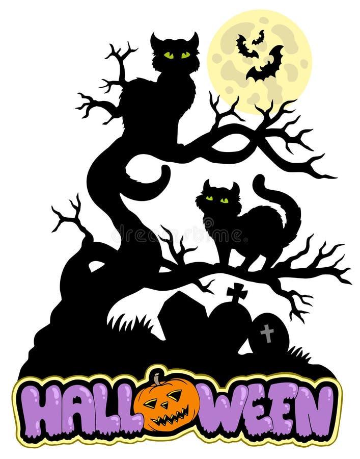 Signe de Veille de la toussaint avec des chats illustration de vecteur