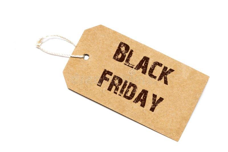 Signe de vente de Black Friday - un prix à payer de papier avec une ficelle d'isolement photos stock