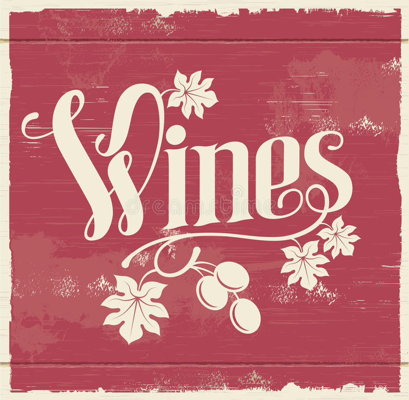 Signe de vin de vintage illustration libre de droits