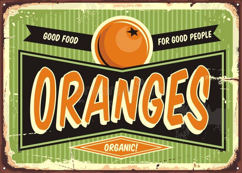 Signe de vintage d'oranges illustration libre de droits