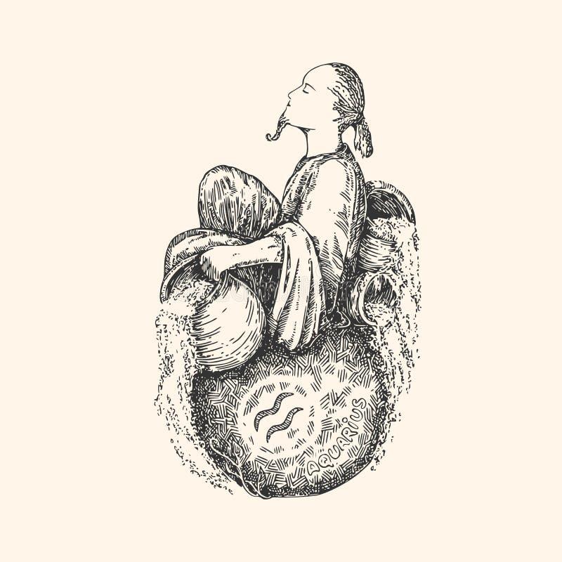 Signe de vintage de zodiaque verseau illustration libre de droits