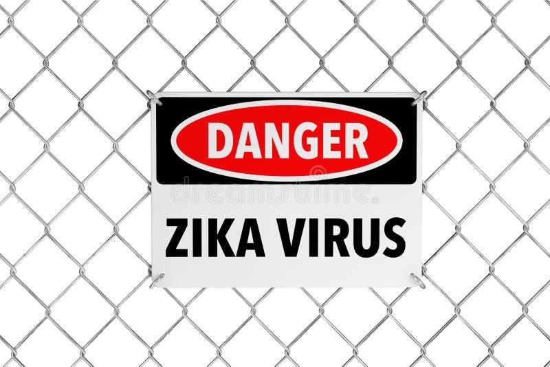 Signe de virus de Zika avec la barrière de câble rendu 3d illustration de vecteur