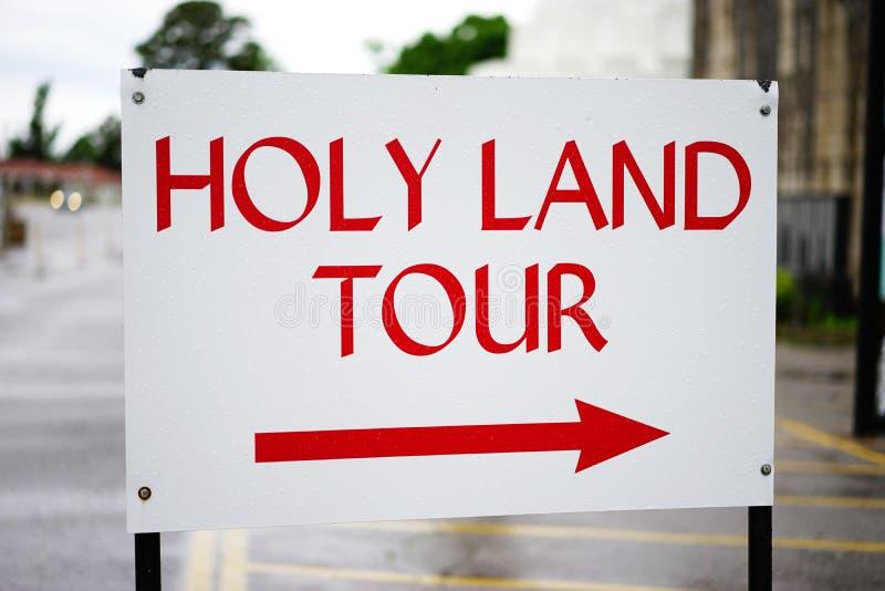 Signe de visite de la Terre Sainte - les points redressent photographie stock libre de droits