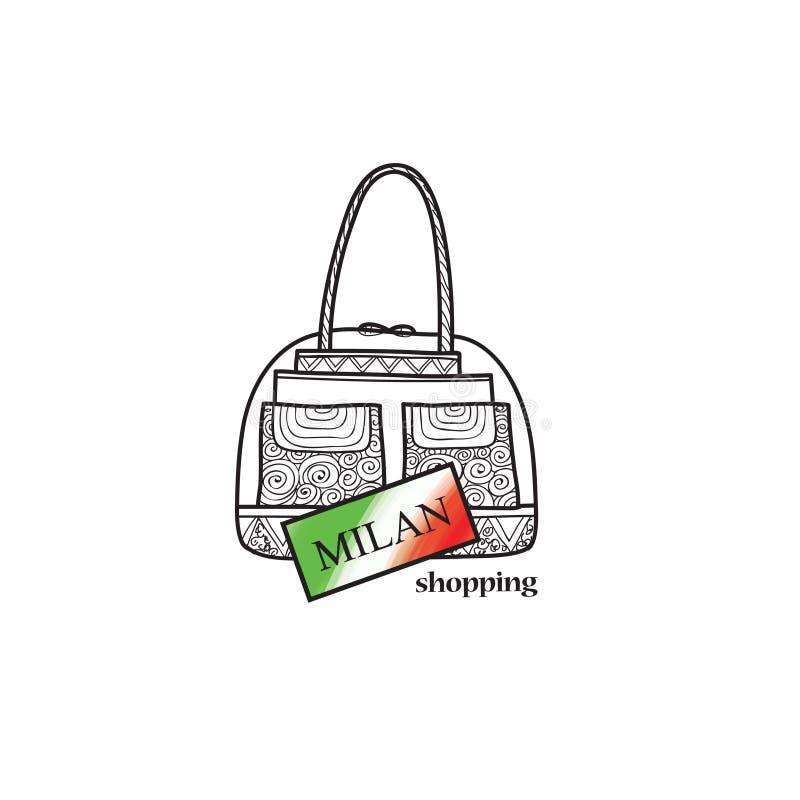 Signe de voyage de l'Italie Label d'achats de ville de Milan Sac s italien de magasin illustration de vecteur