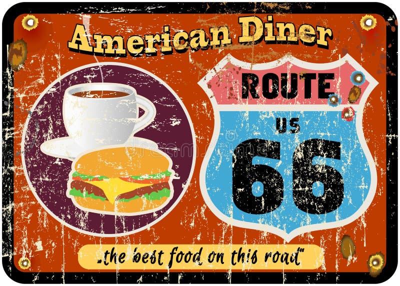 signe de wagon-restaurant de l'itinéraire 66 illustration stock