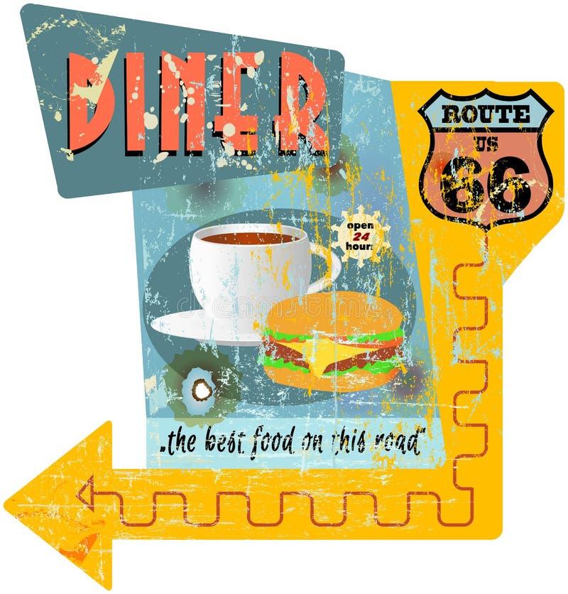 Signe de wagon-restaurant de Route 66 illustration libre de droits