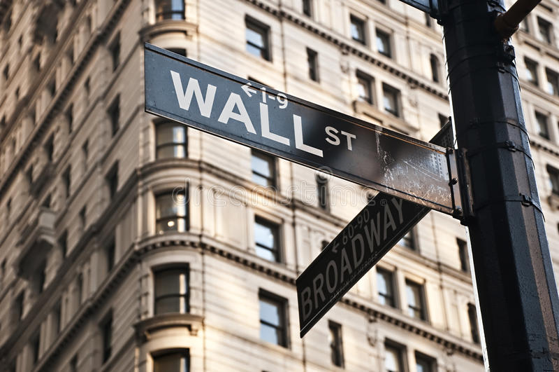 Signe de Wall Street images libres de droits
