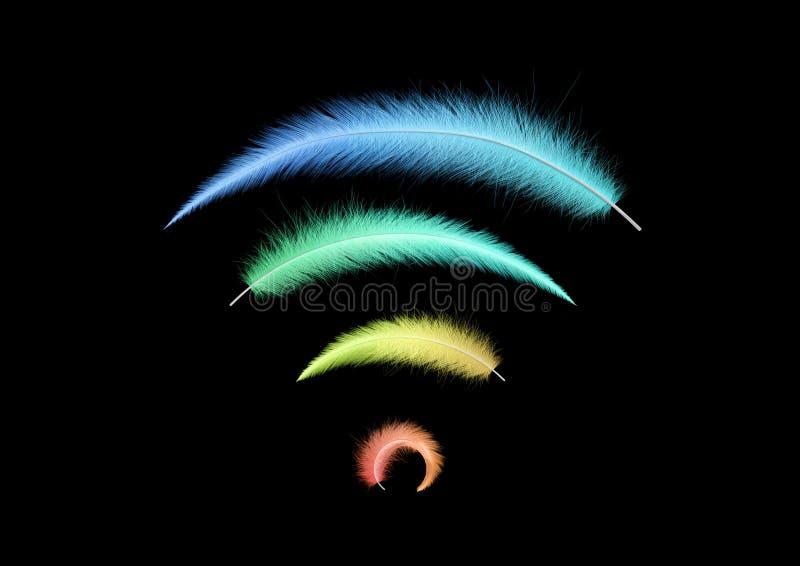 Signe de Wi-Fi des plumes colorées image libre de droits