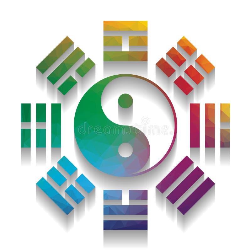 Signe de Yin et de yang avec la disposition de bagua Vecteur Icône colorée illustration de vecteur