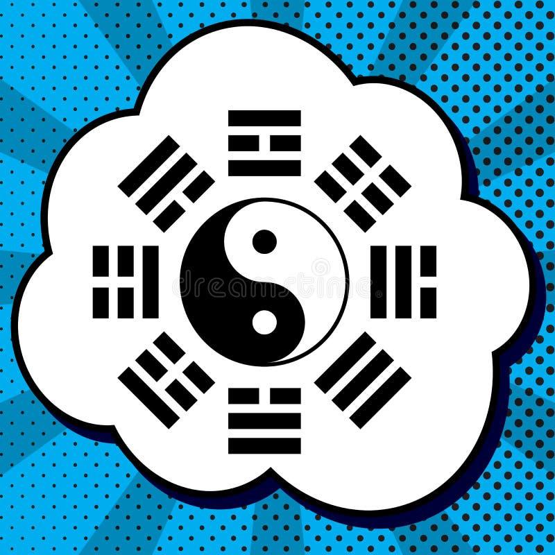 Signe de Yin et de yang avec la disposition de bagua Vecteur Icône noire dedans illustration stock