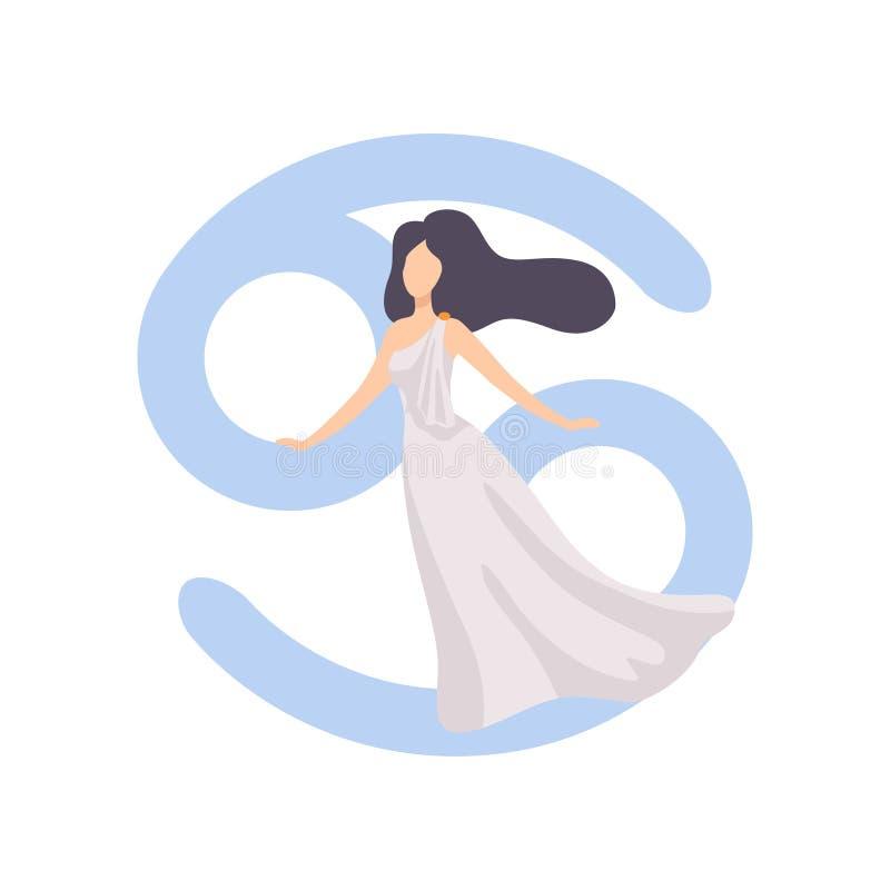 Signe de zodiaque de Cancer, vêtements de port de jeune belle femme dans le style de l'illustration de vecteur de Grèce antique illustration libre de droits