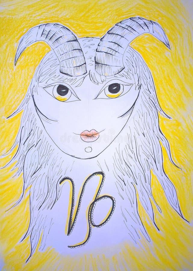 Signe de zodiaque de Capricorne Peinture initiale illustration libre de droits