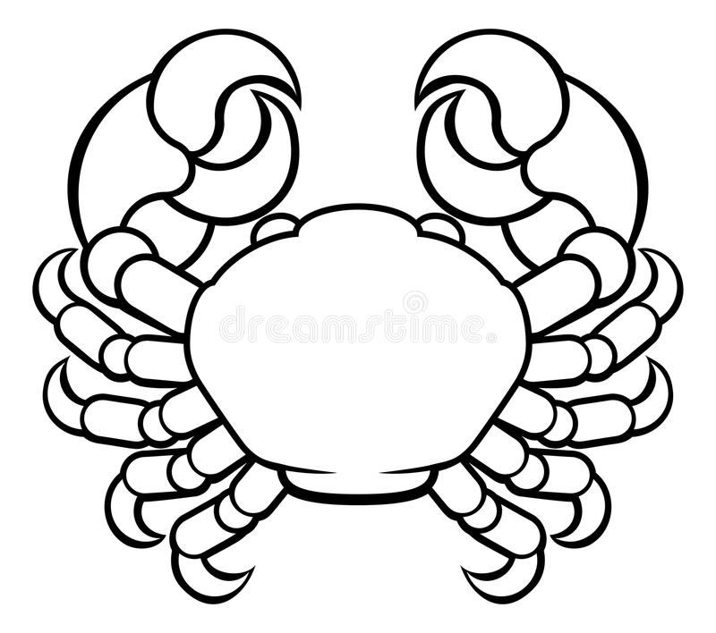 Signe de zodiaque d'horoscope de Cancer de crabe illustration de vecteur