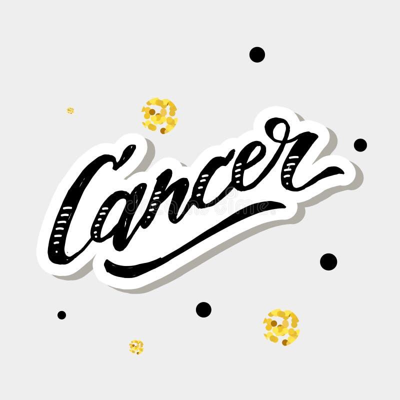 Signe de zodiaque d'horoscope des textes de brosse de calligraphie de lettrage de Cancer illustration de vecteur