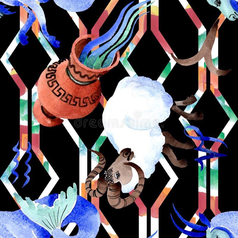 Signe de zodiaque d'horoscope, symbole d'astrologie Ensemble d'illustration d'aquarelle Mod?le sans couture de fond illustration stock