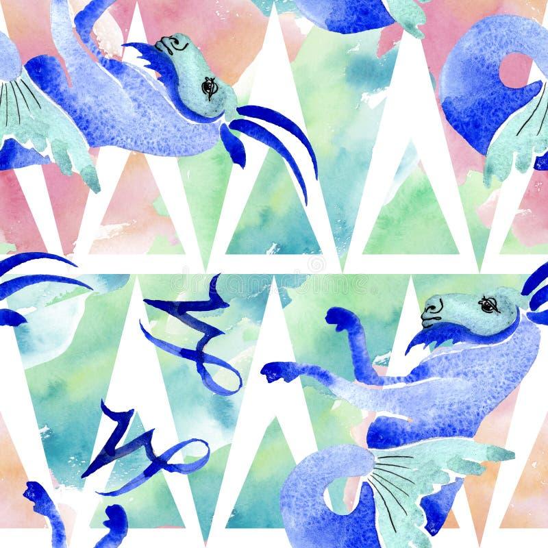 Signe de zodiaque d'horoscope, symbole d'astrologie Ensemble d'illustration d'aquarelle Mod?le sans couture de fond illustration libre de droits