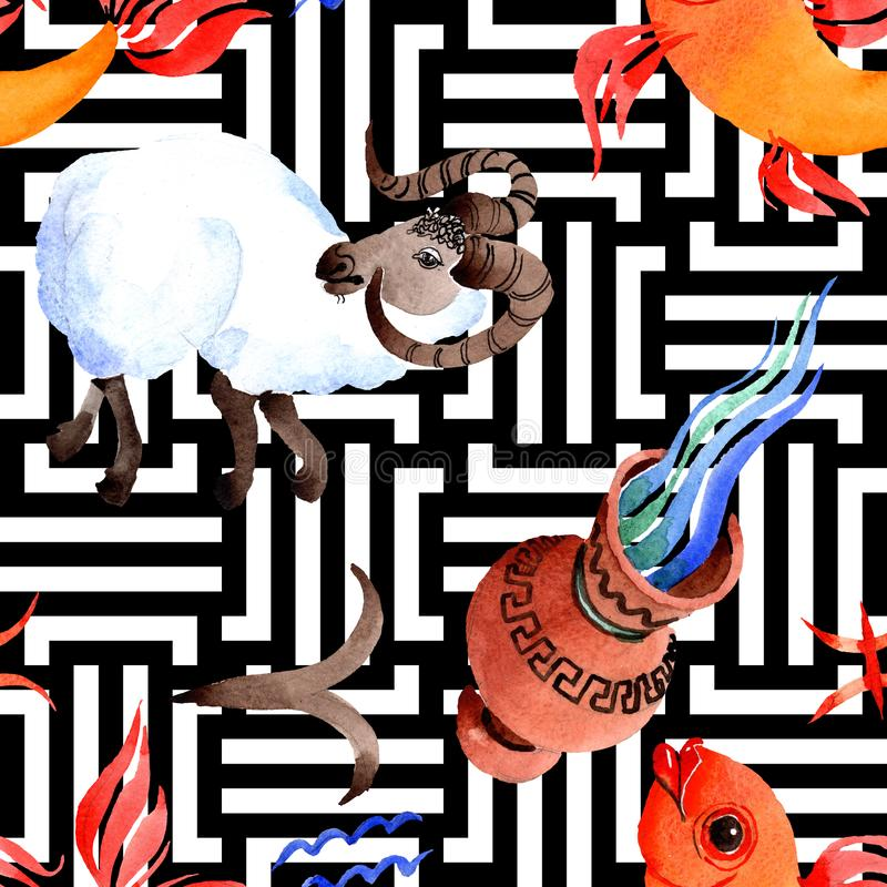 Signe de zodiaque d'horoscope, symbole d'astrologie Ensemble d'illustration d'aquarelle Mod?le sans couture de fond illustration de vecteur