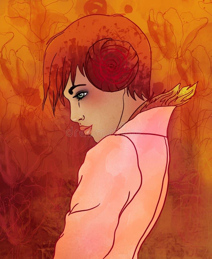 Signe de zodiaque de Bélier en tant que belle fille illustration libre de droits