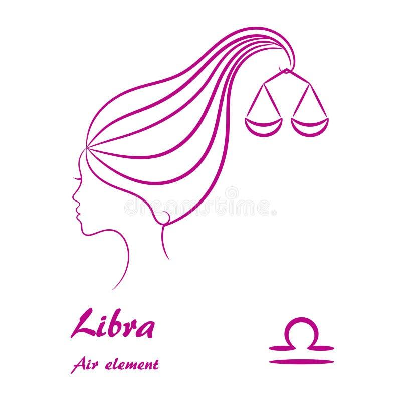 Signe de zodiaque de Balance Profil femelle stylisé de découpe illustration libre de droits