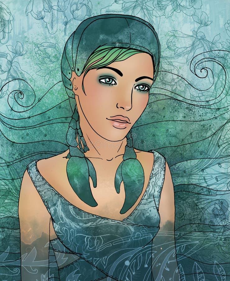 Signe de zodiaque de Cancer en tant que belle fille illustration libre de droits