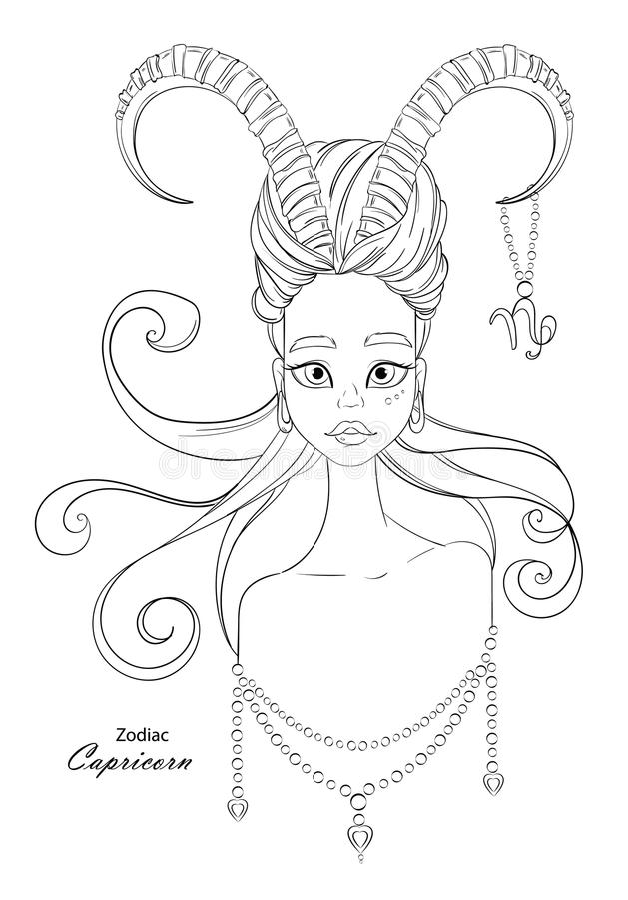 Signe de zodiaque de Capricorne en tant que belle fille avec les ornements décoratifs illustration stock