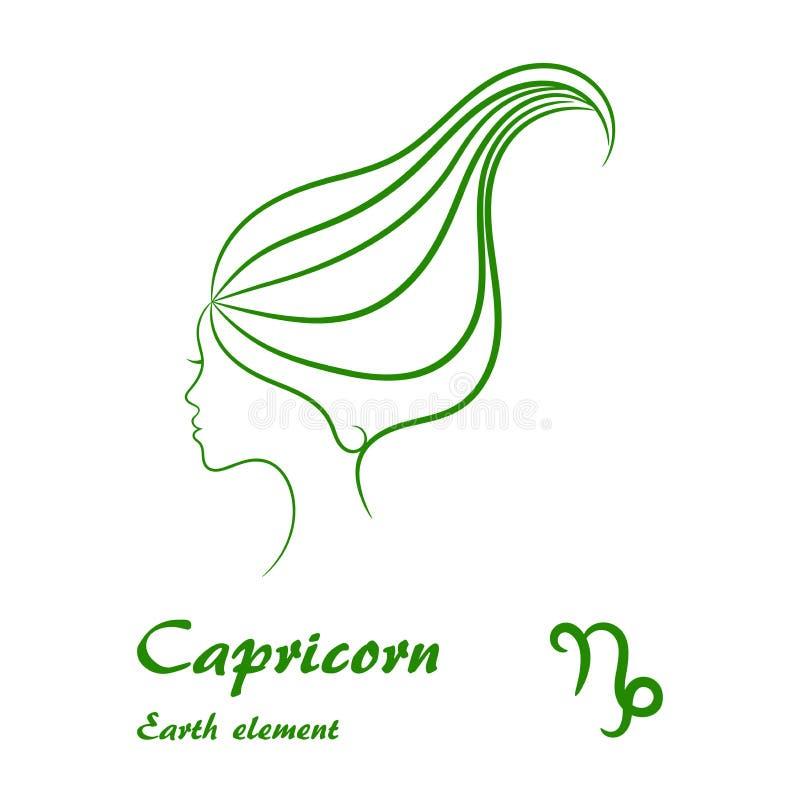 Signe de zodiaque de Capricorne Profil femelle stylisé de découpe illustration stock