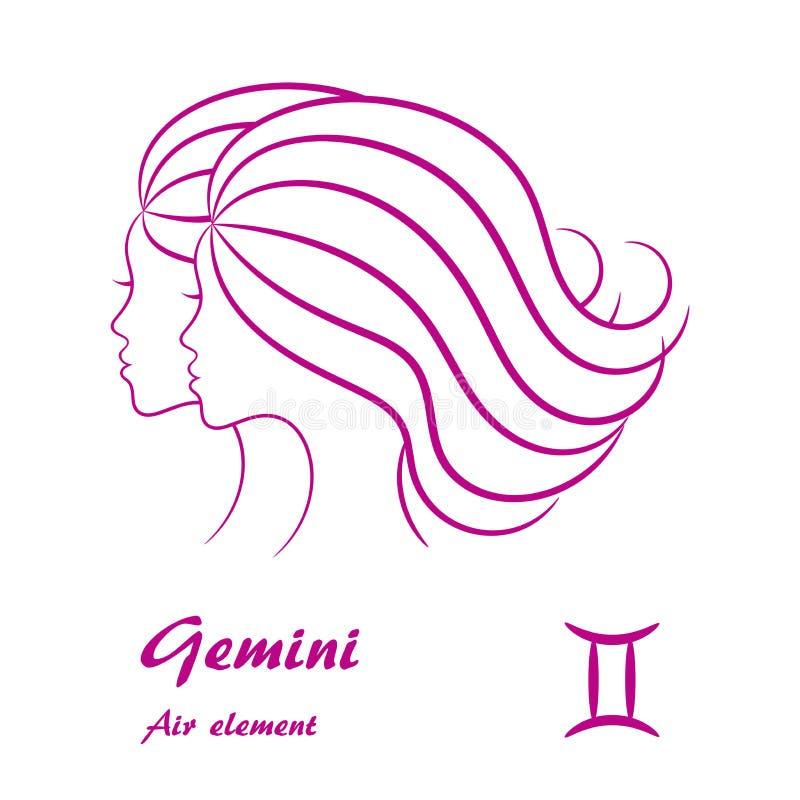 Signe de zodiaque de Gémeaux Profil femelle stylisé de découpe illustration libre de droits